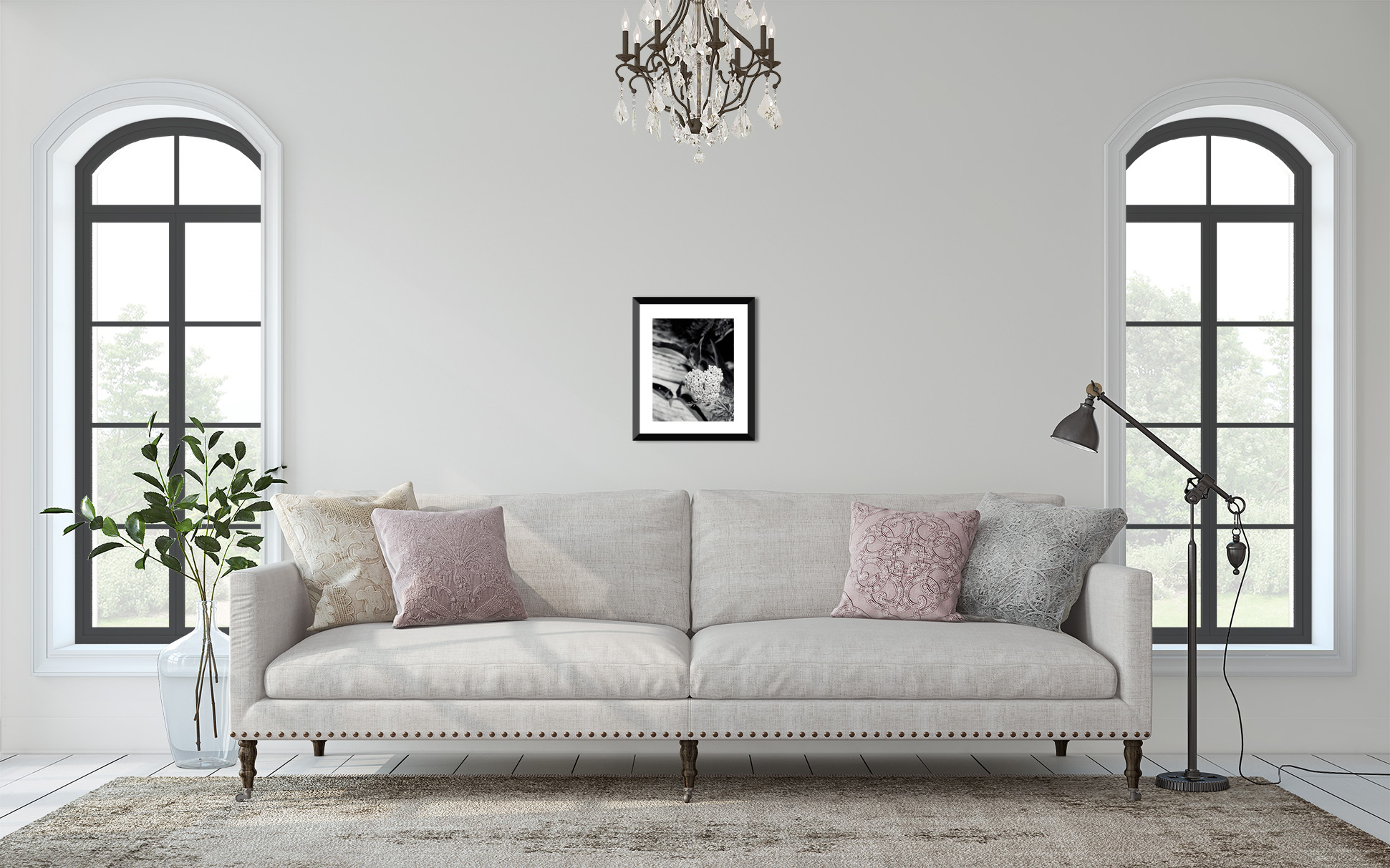 Display of Metallic Photographic Print, Monochrome, Black and White, Astillbe My Heart by Tonya M. Brill, Artist and Photographer